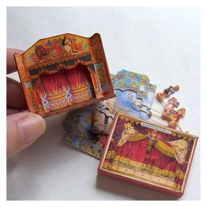 Open House Miniatures - wooden toy theatre, Fairy Garden scenery and characters set