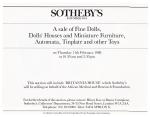 Britannia House Catalogue - Sotheby's Sale Notice - 1988