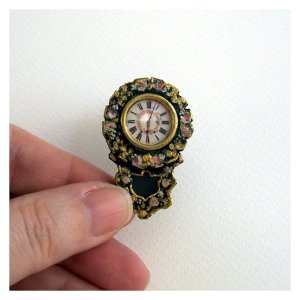 Open House Miniatures - dolls' house painted wall clock - c. 1830