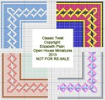 Open House MIniatures - Needlework Rug, Classic Twist Variations on a Theme