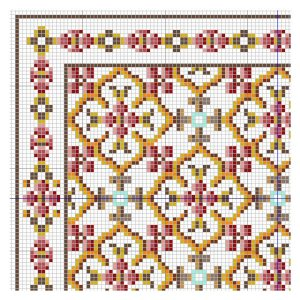open house miniatures - geometric rose rug chart