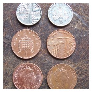 Open House Miniatures - 5p and 1p coins showing variations