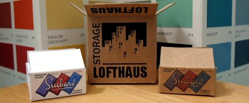dolls' house cardboard boxes -vintage suchard and lofthaus storage