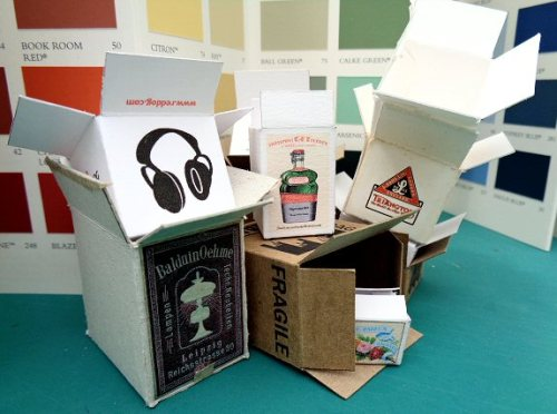 dolls' house cardboard boxes - open house miniatures 2017
