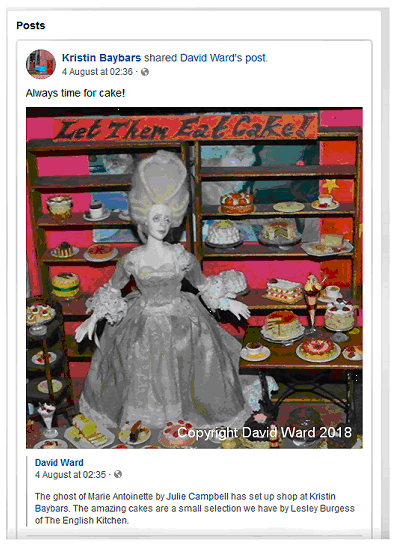 Kristin Baybars - facebook - the ghost of marie antoinette sets up a cake shop