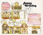 Shaberay Birthday Crad from the 1970s - House and green house to cut out and make up