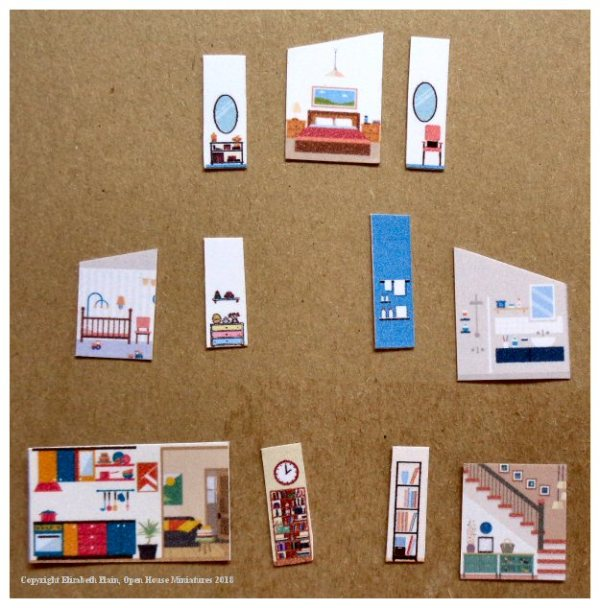 The 'E' House - interior papers (on card)