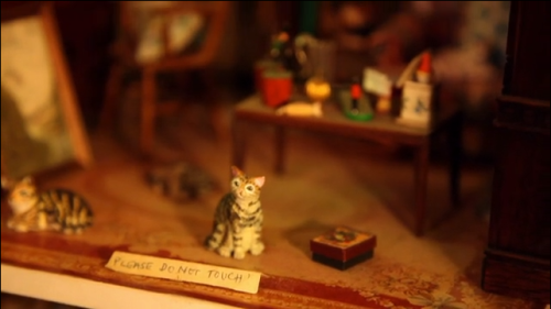 David Ward miniature cat in Kristin Baybars dollhouse