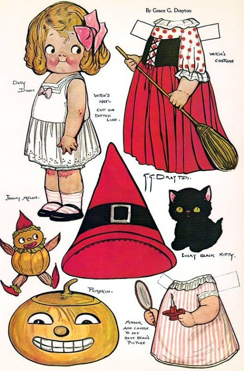 Part of a card - Dolly Dingle doll with witch's costume for Halloween