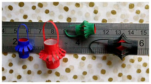 miniature paper lanterns in various colours