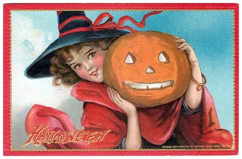 Halloween - young girl and pumpkin head
