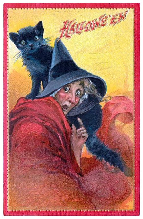 Halloween card - old lady and cat