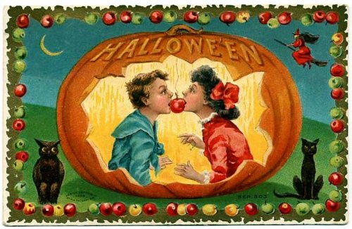 Halloween - card - pumpkin and couple with apple