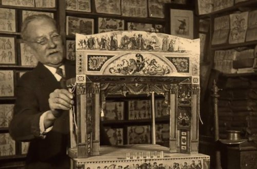 benjamin pollock assembling a toy theatre in his shop - 1928