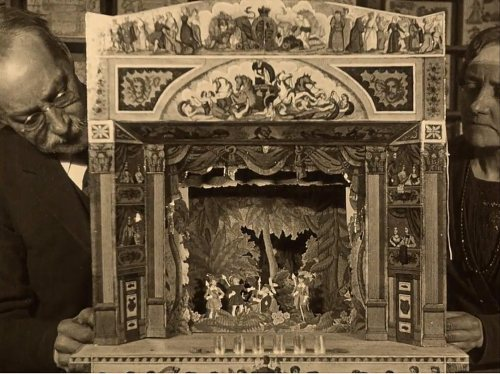 benjamin pollock and his daughter operating a toy theatre - 1928 - gaumont mirror film